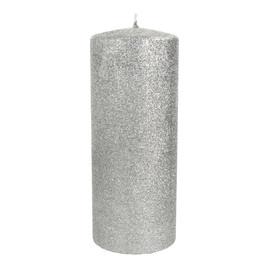 Świeca ozdobna Glamour srebrna - walec duży