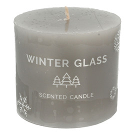 Świeca zapachowa Winter Glass szara - walec mały