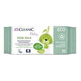 Vege Milk biodegradalne chusteczki nawilżane dla niemowląt i dzieci 50 szt.