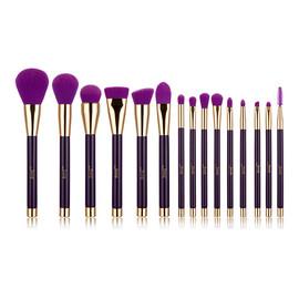 Zestaw 15 pędzli do makijażu twarzy i oczu purple/dark violet T114