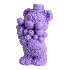 Mydełko glicerynowe Miś z Bukietem fioletowy
